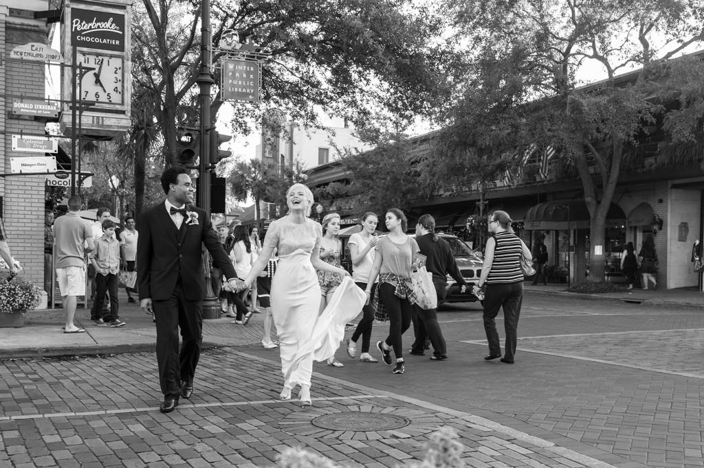 park ave florida, winter park florida, winter park wedding, happy couple