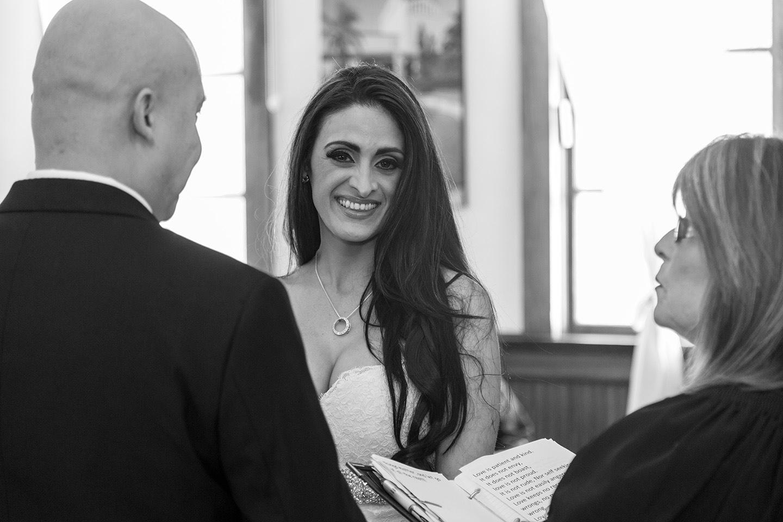 A happy bride in the Winter Park Wedding Chapel