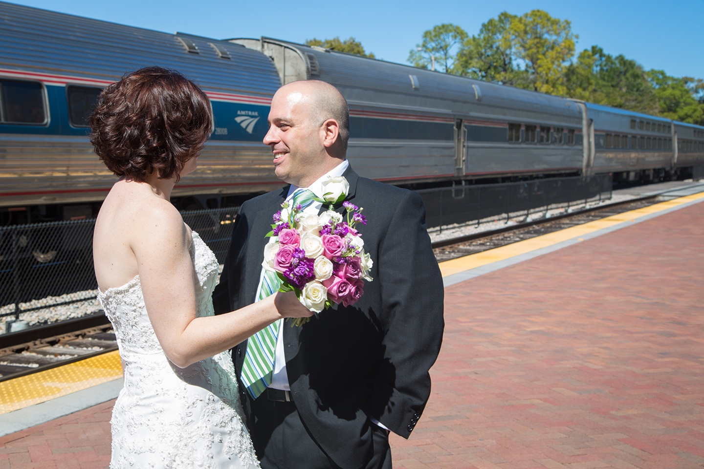 Newlyweds at the Winter Park train station