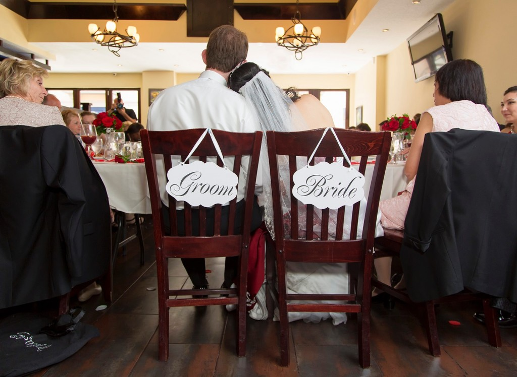 A sweet moment between bride and groom during their Winter Park reception