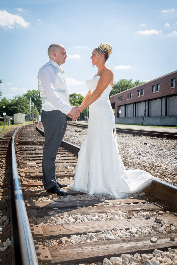 Romantic photos along the train tracks in Winter Park