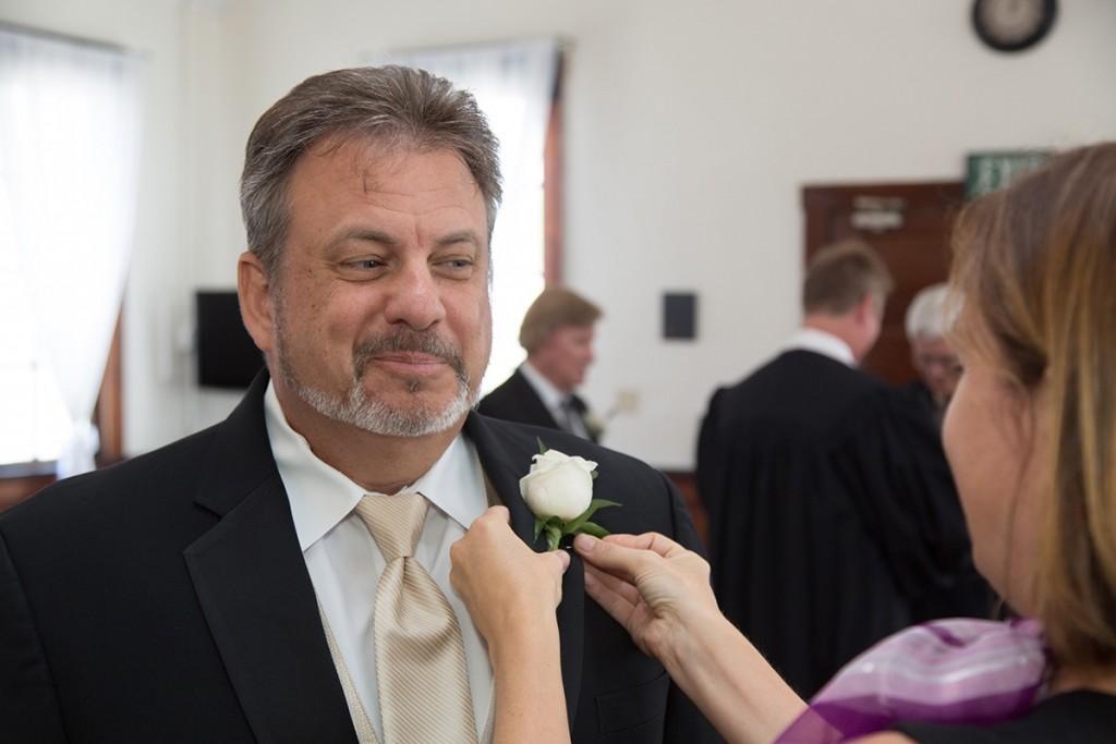 A happy Orlando groom at the Winter Park Wedding Chapel