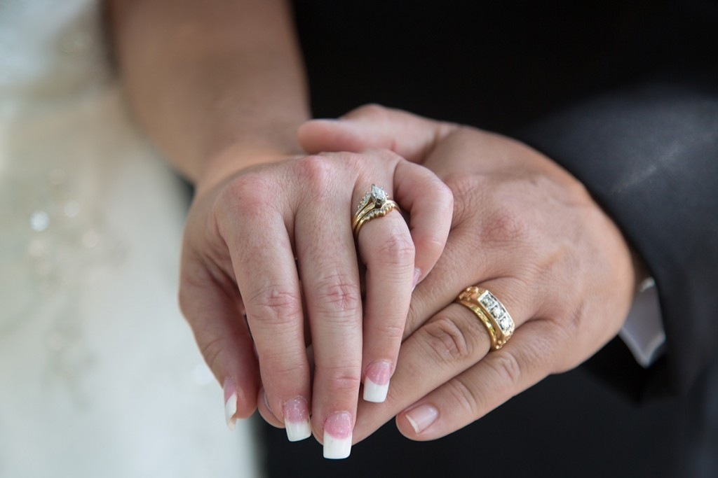 A detail shot of this couple's wedding rings