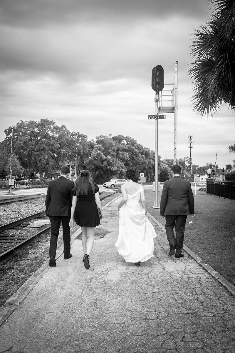 Bridal party walking to their historic Winter Park Wedding venue.