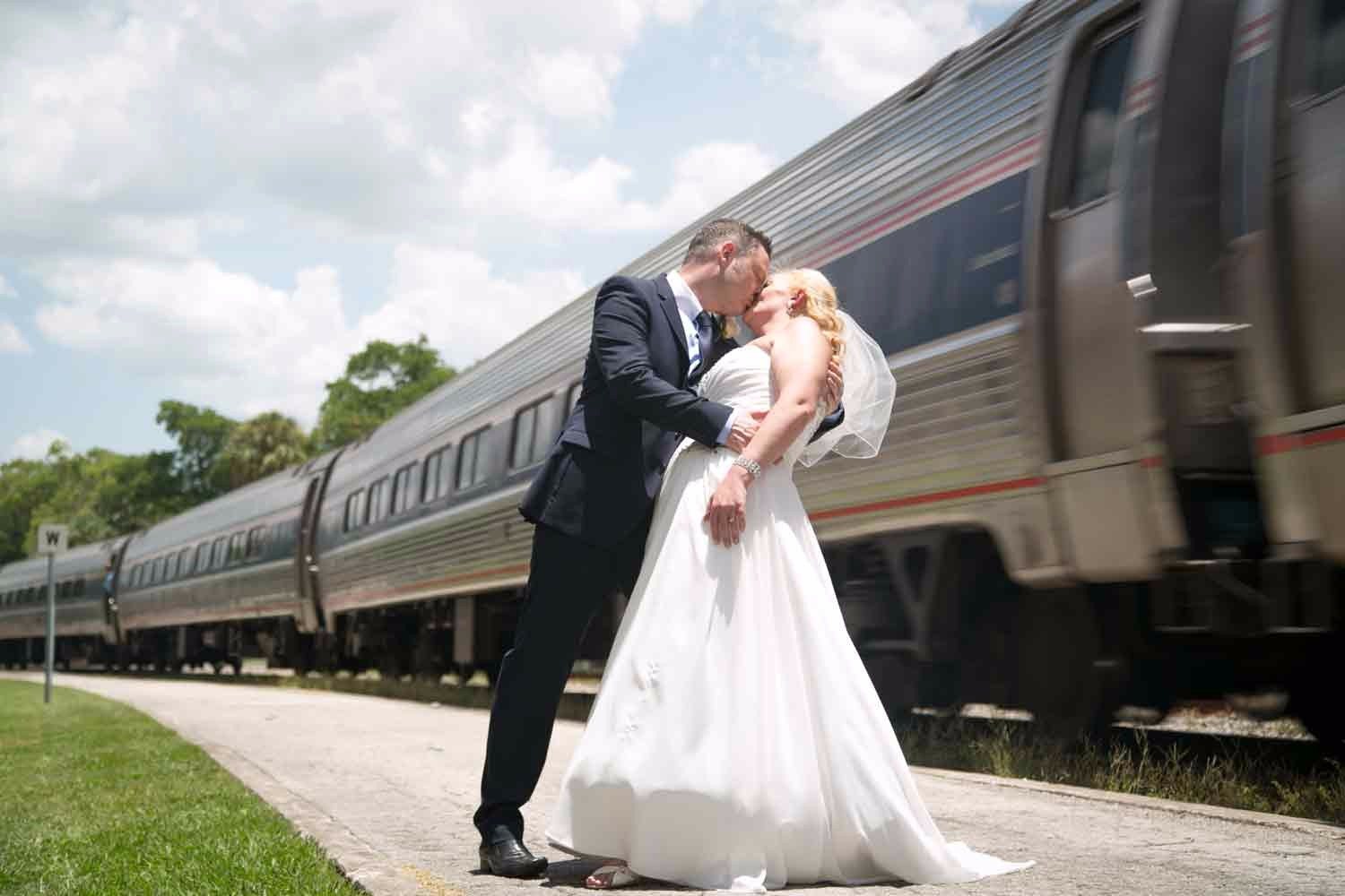 This couple got lucky for photos! We had a train pass through the station!
