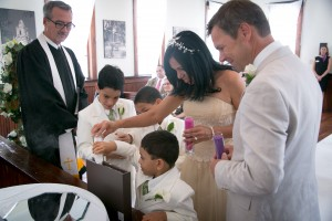 lovely family at the Winter Park Wedding Chapel doing a family sand ceremony